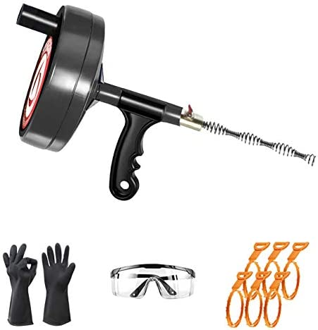 Plumbing Snake Drain Auger 25 Feet Drain Clog Remover with 6 Sink Snakes Work Glove Glasses product image