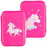 Gooji Unicorn Pencil Case for Girls (Hard Top) Magical 3D Creature, Bright Colored Storage Box | Compact and Portable Home, Classroom, Art Use | for kids age 3 and up (Pink)