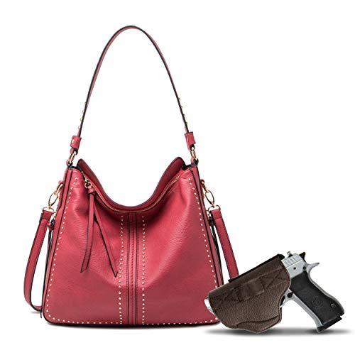 Red Large Concealed Carry Hobo Purse for Women Studded Leather Crossbody Shoulder Bag With Gun Holster - Conceal Weapon MWC-G1001RD