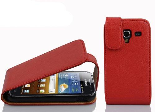 Cadorabo Hülle für Samsung Galaxy ACE 2 in Inferno ROT - Handyhülle im Flip Design aus Strukturiertem Kunstleder - Hülle Cover Schutzhülle Etui Tasche Book Klapp Style