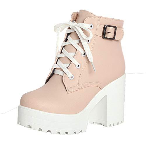 High Heels Ankle Boots mit Blockabsatz und Schnürung 10cm Absatz Stiefeletten Schuhe(Pink,41)