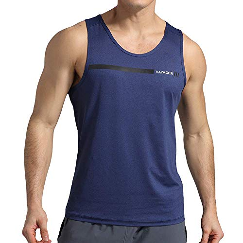 VAYAGER Men's Quick Dry Workout Tank Tops Bodybuilding Gym Athletic Training Sleeveless Shirts(Blue S)