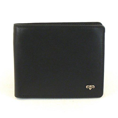 HGL Herren Geldbörse Querformat echt Leder schwarz ausklappbar Innenriegel 11497