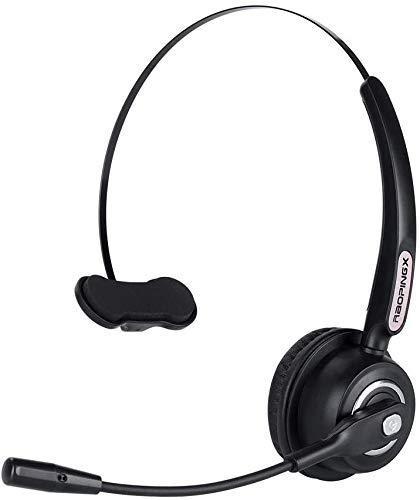 Trucker - Auriculares Bluetooth con micrófono, cancelación de ruido, 18 horas, tiempo de conversación para oficina, negocios, centro de llamadas, teléfonos móviles, PC/Skype
