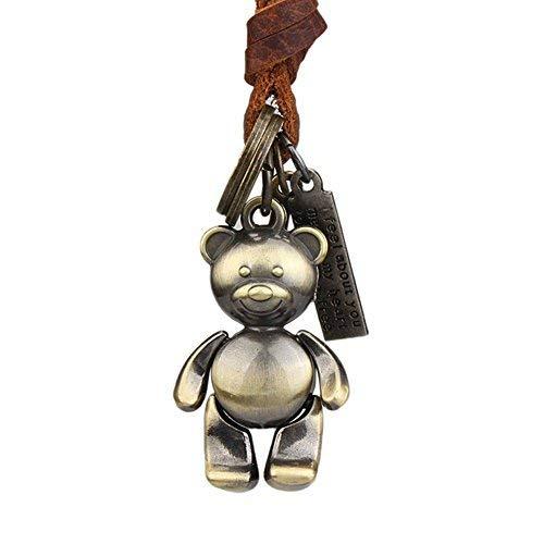 Die Bunt Frauen Männer Kinder Halskette mit Bär Anhänger aus Leder bis 70cm