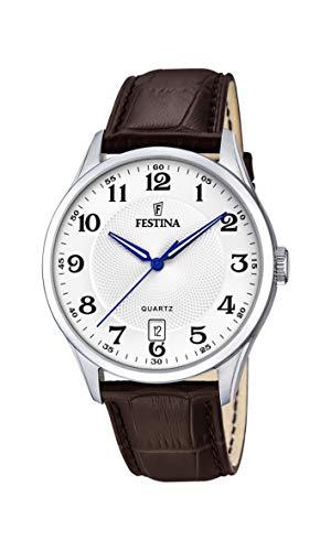 Festina Herren Analog Quarz Uhr mit Leder Armband F20426/1