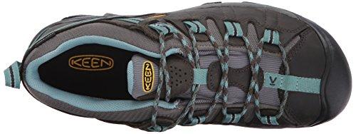 KEEN Women's Targhee 2 Low Height Waterproof Hiking Shoe, Black Olive/Mineral Blue, 8.5 M (Medium) US