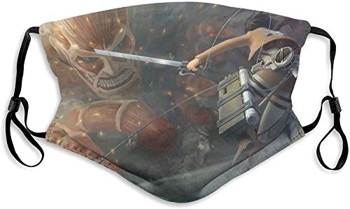 Attack on Titan Mikasa Ackerman Colossal Titan Men's Women's Face Mask Windproof Men's Women's Dustproof Mouth Cover with Adjustable Elastic Strap