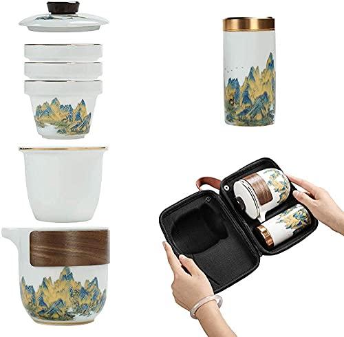 Juego de té de cerámica para viaje, juego de té de Kung Fu chino portátil, tetera, 3 tazas de té para picnic al aire libre, camping, hotel de negocios