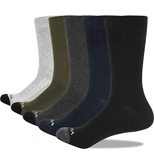 YUEDGE 5 Pares Casuales de Algodón para Hombres Calcetines Transpirables Calcetines de Trabajo (XL)