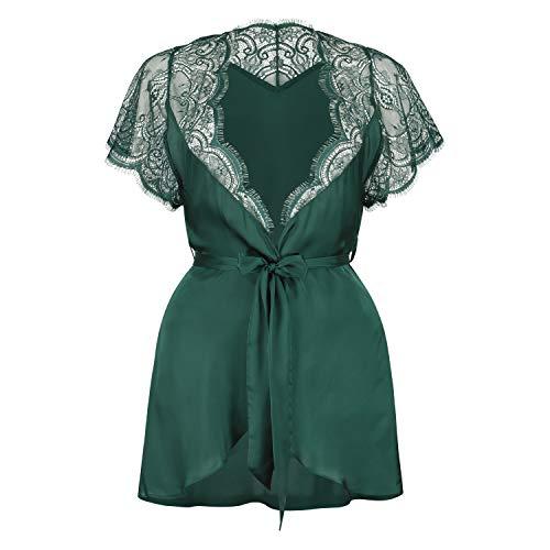 HUNKEMÖLLER Damen Cap Sleeve Kimono grün XS/S