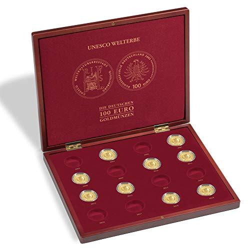 Leuchtturm 357089 VOLTERRA DE Luxe Münzkassette für 16 deutsche 100-Euro-Goldmünzen UNESCO Welterbe in Original Kapseln