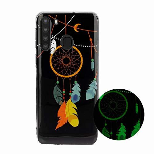 Miagon Leuchtend Luminous Hülle für Samsung Galaxy A21,Fluoreszierend Licht im Dunkeln Handyhülle Silikon Case Handytasche Stoßfest Schutzhülle,Feder Glockenspiel