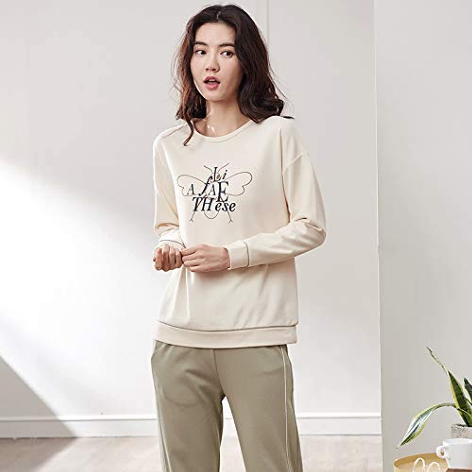 DALAI Autumn Women's Cotton LongSleeved Trousers Casual Pajamas Set Korean Cartoon Cotton Fashion Service (Size   XL) (Size   XLarge)