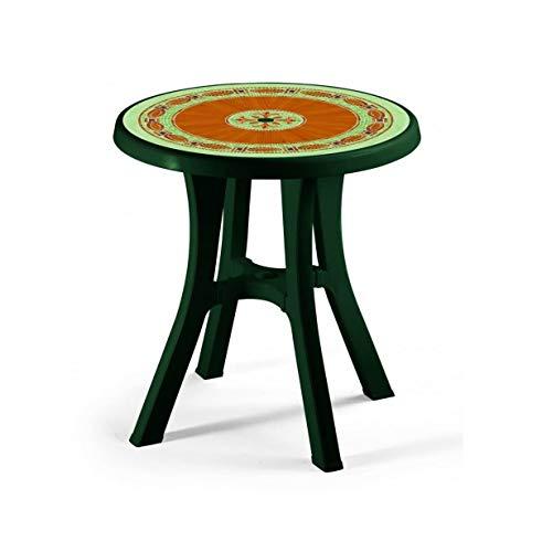ALTIGASI Table verte avec plateau mosaïque pour extérieur, modèle POL, dimensions 70 cm de diamètre en résine – avec 4 pieds réglables, fabriquée en Italie