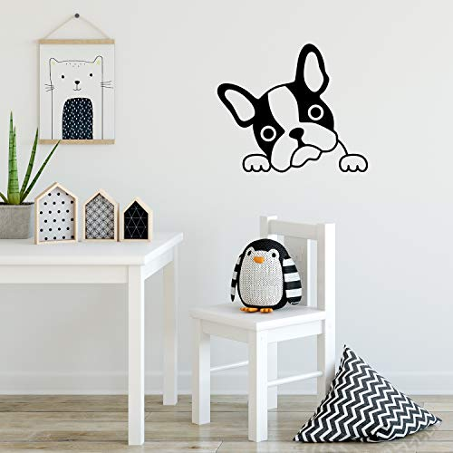 Vinyl Wall Art Decal - French Bulldog Face - 18' x 21' - Cute Adhesive Stickers Dog Shape for Dogs Lover Home Bedroom Living Room Kids Room Vet Pet Store Decor