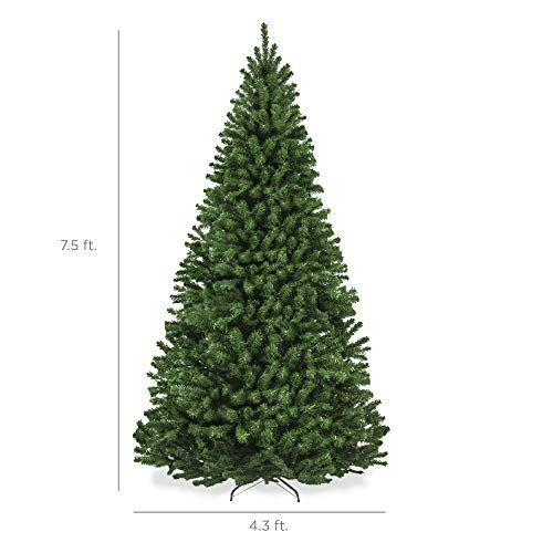 Best Choice Products 7.5ft Premium Spruce Hinged Artificial Christmas Tree w/ Easy Assembly, Foldable Stand