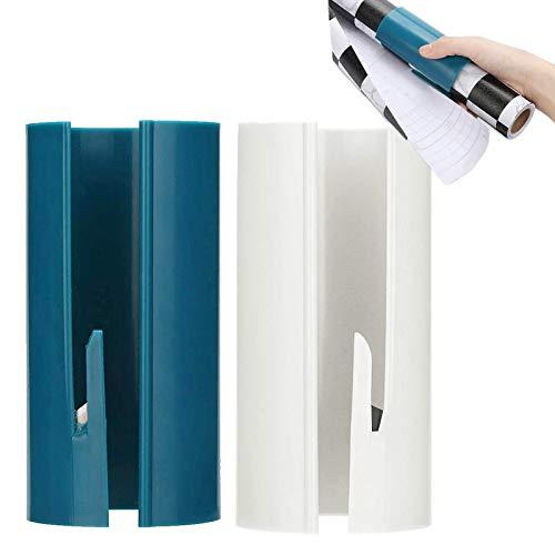 2 Stück Geschenkpapier Schneider Packpapier Schneider Geschenkpapier Cutter Tragbare Papierschneider Schneidewerkzeug Papier Paper Mini Schneider Blau Weiß Für Weihnachten Paket Geschenk Deko 10x6cm