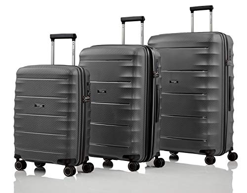 TITAN 4-Rad Koffer Set Größen L/M/S mit TSA Schloss, Bordtrolley erfüllt IATA-Bordgepäckmaß, Gepäck Serie HIGHLIGHT: TITAN Hartschalen Trolleys im Carbon Look, 842102-04, anthracite (grau)
