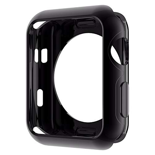 KAAGGF Funda de Silicona Suave Original para Apple Watch Series 3 Serie 3 Serie 2 Cubierta de protección de TPU chapada en Oro 42mm 38mm (Color : Black, Dial Diameter : 38mm Series 2 3)