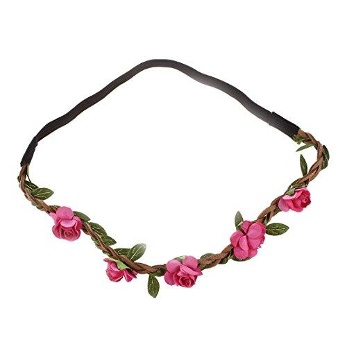 Bandeau-SODIAL(R) Fleur Femme Bandeau Bande de Cheveux Mariage Partie Festival Rose rouge
