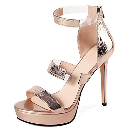 Kobieta sandały, lato wysoki obcas 12 cm Stiletto Otwórz Toe Back Zipper Damskie Pompy do ślubu, impreza, Codzienne życie,1,36