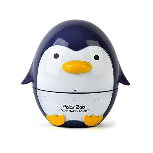 Belons Küchentimer 60 Minuten Kurzzeitmesser Pinguin Kurzzeitwecker Mechanische Eieruhr Manueller Zeitgeber Countdown Stoppuhr, Bläuliches Violett