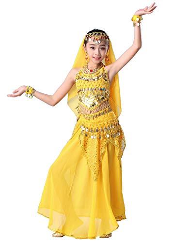 Maguun Traje de Bailarina del Vientre para niñas Traje de Halloween para niños Vestido de Festival de Carnaval Juego de 4 Piezas