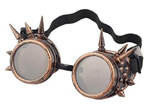 Ultra Bronze mit Braunen Linsen Steampunk Brille Gläsern Cyber Viktorianischer Punk Schweißen Cosplay Goth Round Spike Vintage Rave Neuhei