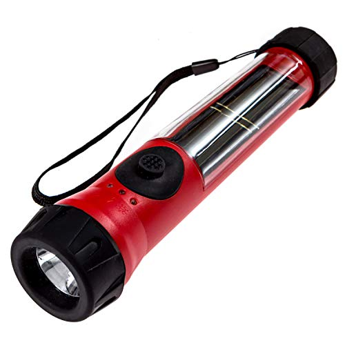 SOS Solarlight Solar Flashlight with compass and dual battery back up system Great for Emergency Power Outages Camping Hiking Walking the Dog Bug out Bag A reliable flashlight. Rechargeable