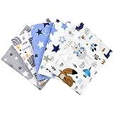 TupTam Baby Moltontücher Flanellwindeln Spucktücher Waschbare Stoffwindeln Mädchen Jungen 70x80 5er Pack, Farbe: Junge, Anzahl der Teile:: 5er Pack
