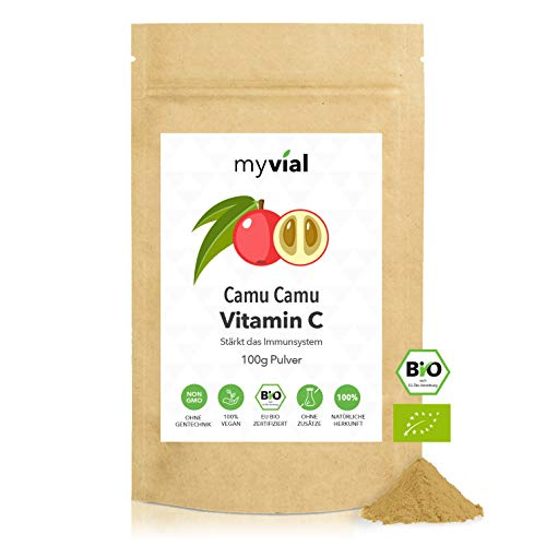 myvial® Vitamin C aus natürlichem Camu Camu Pulver 100g vegan | Bio Qualität | für Immunsystem & Abwehrkräfte | 100% rein & natürlich | Ohne Zusätze | Plastikfrei verpackt