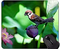 パーソナライズされた自然紫花マウスパッド - スズメ滑り止めラバーベースマウスパッド