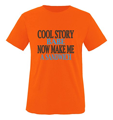 Comedy Shirts - Cool Story Babe. Now Make me a Sandwich - Herren T-Shirt - Orange/Blau-Braun Gr. XL