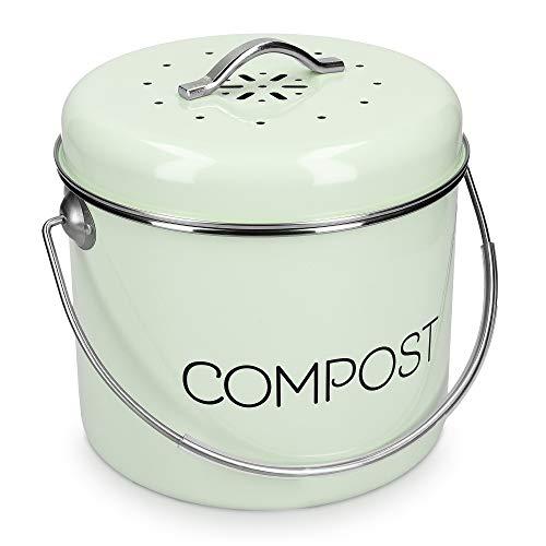 Navaris Cubo de Metal para Compost - Contenedor de Basura orgánica con Tapa y 3X Filtro - 21.5 x 23.2 CM - Compostera Vintage para la Cocina de 5 L