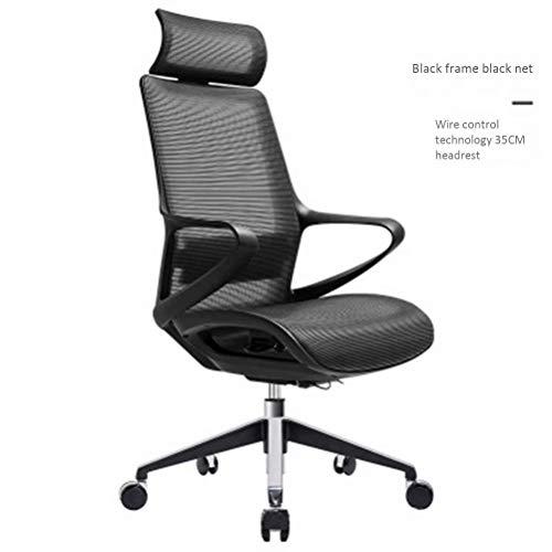 24-uurs ergonomische bureaustoel, verstelbare computerstoel met hoge rugleuning, met hoofdsteun en lendensteun