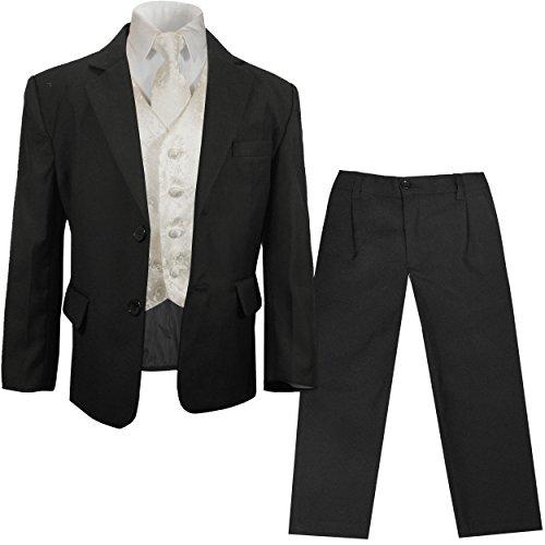 Paul Malone festlicher Jungen Anzug (tailliert) schwarz mit festlichem Westenset Ivory geblümt
