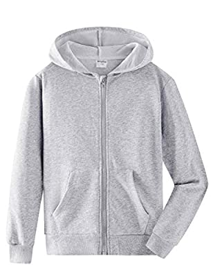 Spring&Gege Youth Solid Full Zipper Hoodies Soft Kids Hooded Sweatshirt for Boys and Girls Ash Grey Size 9-10 Years