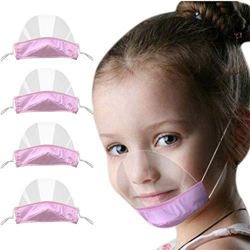 Protezione per il viso aperta trasparente per bambini da 4 pezzi, per metà viso protezione per il viso in plastica trasparente elastica protezione per la bocca da indossare comoda per i bambini (D)