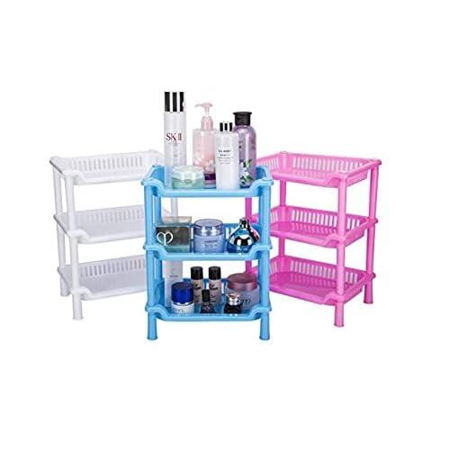 Visheriya Traders Storage Shelves Plastic Basket Square 3 Layers Floor Stand Rack, 26.5 x 18.5 x 34 cm, Random Colour