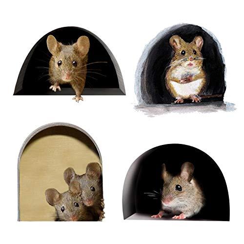 40 pegatinas de dibujos animados en 3D, cuatro tipos, mini agujero de ratón, arte de pared, pegatinas divertidas, para decoración de habitaciones, cocina