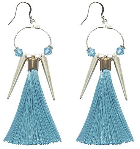 Jefencop Tassel Drop Earrings Round Hoop Cone Charms Beads Fashion Bohemian Earrings Women Girls