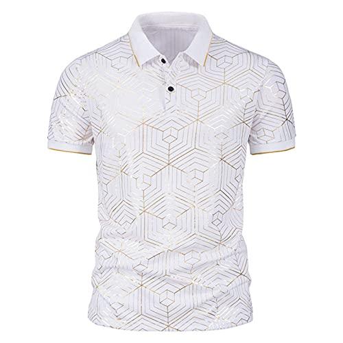 Verano de Hombres Impresión de Estampado en Caliente de Cubo de Rubik de telaraña Camiseta de Manga Corta con Solapa Polo (D,XXL)