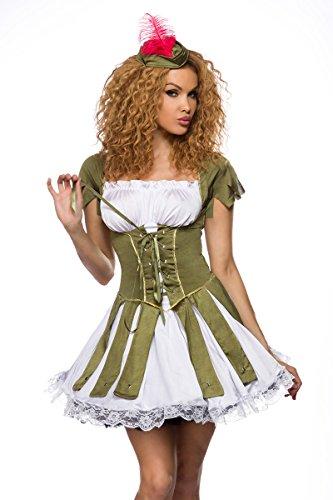 Yourdesignerz Damen Robin Hood Kostüm Verkleidung in Corsagenoptik mit Kleid, Hut, String OneSize