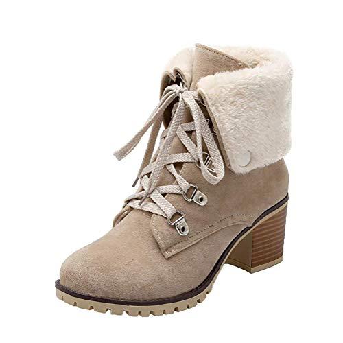 Minetom Damen Worker Boots Einfarbige Schnürsenkel Hohe Absätzen Stiefeletten Mit Schnalle Blockabsatz Schuhe Outdoor Stiefel Beige 43 EU