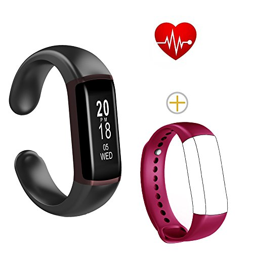Fitness Tracker Watch, Shangpule Sports Smart Watch with Heart Rate, Blood Pressure, Sleep Monitor, IP68 Waterproof Activity Tracker Pedometer for Step Distance Calories(with Replacement Band) (Black)