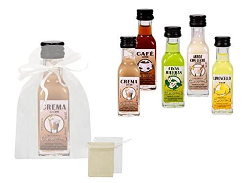 Lote de 30 Botellas de Licor Mini'La Rivera' Sabores Surtidos en Bolsas de Tull Lisas. Regalos. Detalles de Bodas, Comuniones, Bautizos, Cumpleaños y Eventos.