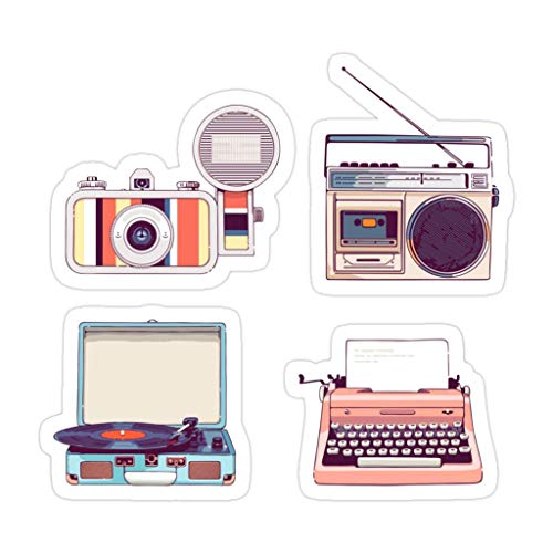DKISEE 3 PCs Go Analog Retro Set Hipster Style - 4 inches Die-Cut Stickers Decals for Laptop Window Car Bumper Water Bottle