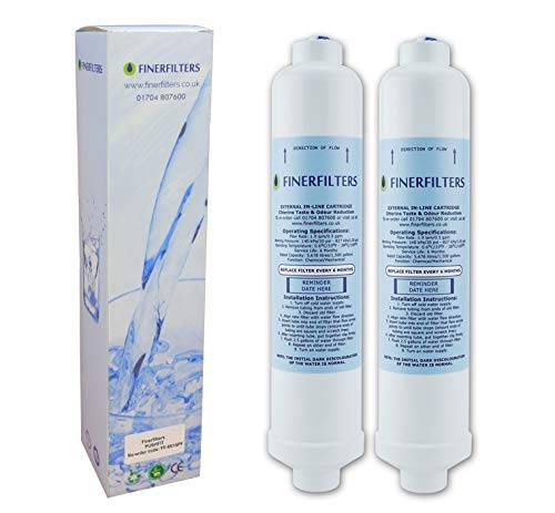2 x Finerfilters FF-6010PF Fridge Water Filters Compatible with Samsung, LG, Daewoo, GE, Bosch etc. Fridge Using Inline Water Filters