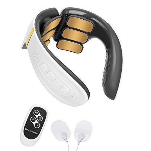 Komake Masajeador de cuello , masajeador de cuello portátil inteligente con calefacción, máquina de pulso eléctrica para aliviar el dolor de la vértebra cervical, uso en la oficina, hogar, viajes